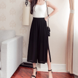 Low Cost Women S Korean Style High Waisted Chiffon Culottes Black Black Leg Slit Black Leg Slit