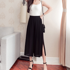 Cheapest Women S Korean Style High Waisted Chiffon Culottes Black Black Leg Slit Black Leg Slit