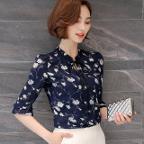Purchase Loose Fit Female New Style Short Half Sleeve Shirt Shirt Chiffon Shirt Blue