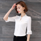 Loose Fit Female New Style Short Half Sleeve Shirt Shirt Chiffon Shirt White Coupon Code