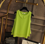 Price Loose Fit Chiffon Blouse Peter Pan Collar Sleeveless L Vest Korean Men S Tops Fruit Green Fruit Green On China