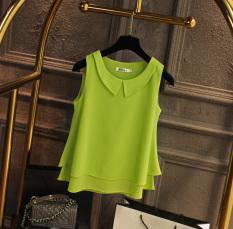 Get Cheap Loose Fit Chiffon Blouse Peter Pan Collar Sleeveless L Vest Korean Men S Tops Fruit Green Fruit Green