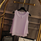 Best Buy Loose Fit Chiffon Blouse Peter Pan Collar Sleeveless L Vest Korean Men S Tops Light Purple Color Light Purple Color