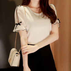Where Can You Buy Loose Fit Chiffon Short Sleeved Female Off The Shoulder Top Beige