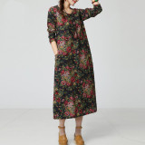 Compare Loose Cotton Linen Mid Length Long Sleeved Printed Dress National Wind Dress Tibetan Blue And White Long Sleeved