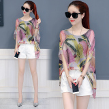 New Loose Korean Style New Style Mock Two Piece Top Chiffon Shirt Leaves Printed