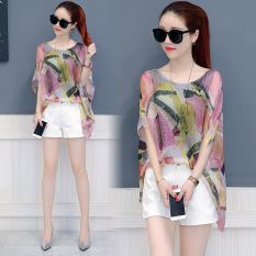 How To Buy Loose Korean Style New Style Mock Two Piece Top Chiffon Shirt Leaves Printed