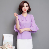 Coupon Leziqing Women S Flare Sleeve Chiffon Blouse Purple Purple