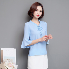 Leziqing Women S Flare Sleeve Chiffon Blouse Sky Blue Color Sky Blue Color Promo Code