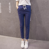 Loose Female Spring And Summer Pants Cotton Linen Pantyhose Pants Dark Blue Color Deal