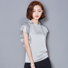 Loose Female Summer New Slimming Simulation Silk Top Chiffon Shirt Gray Cheap