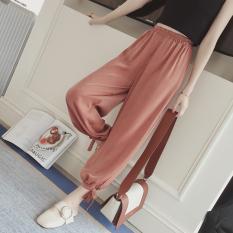 Loose Gauze Female Summer Thin Harem Pants Yarn Pants Brick Red For Sale
