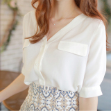 Buy Loose Korean Female New Style Top Chiffon Shirt White Oem Online