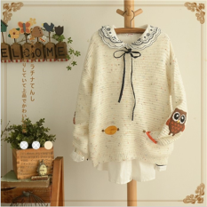Get Cheap Loose Korean Style Autumn And Winter New Style Round Neck Sweater M Color Point Cat Head Eagle