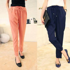 Cheaper Women S Thin Chiffon Pants Black Dark Blue Pink Dark Blue Color Dark Blue Color
