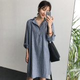 Discount Loose Korean Style Cotton Linen New Style Mid Length Long Sleeved Dress Shirt Dress