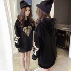 Buying Loose Korean Style Cotton Mid Length Hoodie Diamond Sequin
