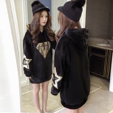Price Loose Korean Style Cotton Mid Length Hoodie Diamond Sequin Singapore