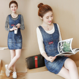 Who Sells Loose Korean Style Cowboy Female New Style One Piece Dress Jumper Dress One Piece Cowboy Dress The Cheapest