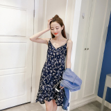 Discount Loose Korean Female Length Floral Print Strappy A Line Dress Floral Print Chiffon Dress