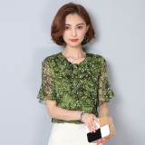Loose Korean Female Printed Temperament Floral Print Short Sleeve Top Bell Sleeve Chiffon Blouse Green Green Coupon