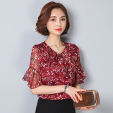 Loose Korean Female Printed Temperament Floral Print Short Sleeve Top Bell Sleeve Chiffon Blouse Red Red Lower Price