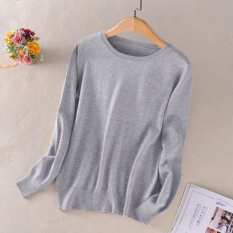 Top 10 Loose Korean Style Female Pullover Cashmere Sweater Round Neck Sweater Light Gray Color