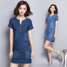 Promo Loose Korean Style Female Summer Short Sleeved Plus Sized A Line Dress Cowboy Dress Dark Blue Color