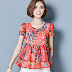 Best Rated Loose Korean Style Floral Female Mid Length Base Shirt Chiffon Shirt Safflower