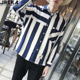 Sale Jreka Men S Loose Stripe Shirt Blue Blue Jreka Original