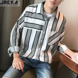 Purchase Jreka Men S Loose Stripe Shirt Gray Gray