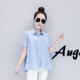 Retail Price Loose Korean Style New Style Lotus Leaf Hem Cotton Linen Doll Shirt Short Sleeved Shirt