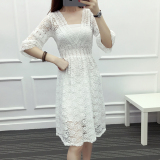Cheap Loose Korean Style New Style Porous Trumpet Sleeve Dress White
