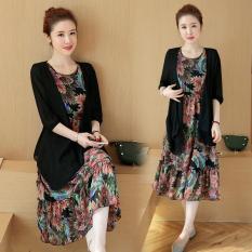 Sale Loose Korean New Printed Chiffon Dress Black Black Oem