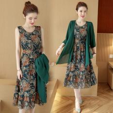 Latest Loose Korean New Printed Chiffon Dress Dark Green Color Dark Green Color