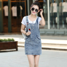 Discount Korean Style Cowboy Plus Sized Loose Tank Dress Dresses 6210 China