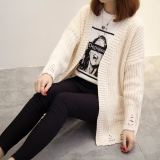 Loose Korean Style Solid Modern New Style Knit Cardigan White Reviews