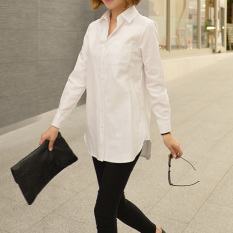 Loose Korean Style Spring Mid Length White Shirt Sale