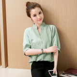 Price Comparisons For Loose Korean Style White Three Quarter Length Sleeve Plus Sized Shirt Cotton Linen Shirt White