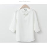 Best Rated Loose Korean Style White V Neck Beaded Chiffon Shirt Base Shirt White