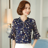 Purchase Loose Korean Style Women S Short Sleeved New Style Bell Sleeve Base Top Chiffon Shirt Bird Blue