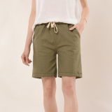 Cheap Loose Fit Linen Women High Waisted Feet Students Pants Cotton Linen Shorts Dark Green Color