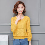 Price Loose Long Sleeved Autumn New Style Porous Small Shirt Base Shirt Yellow Oem New