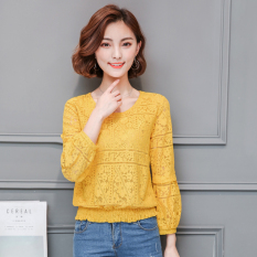 Sale Loose Long Sleeved Autumn New Style Porous Small Shirt Base Shirt Yellow China Cheap