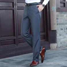 Latest Loose Men Slim Fit Professional Suit Pants Men S Trousers Dark Gray Color
