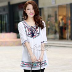 Lowest Price Loose Mori G*rl Plus Sized Slimming G*rl S Shirt Embroidered Top White Short Sleeved