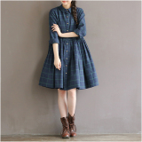 Best Rated Loose Sen Nv Xi Qiu Kuan New Long Cardigan Dress Plaid Shirts