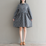 Compare Loose Mori G*rl Series Brushed Cotton Plus Sized Giraffe Dress Gray Prices