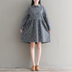 Cheapest Loose Mori G*rl Series Brushed Cotton Plus Sized Giraffe Dress Gray