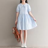 Best Offer Loose Mori G*rl Series Cotton Linen Student Mid Length A Line Dress Dress